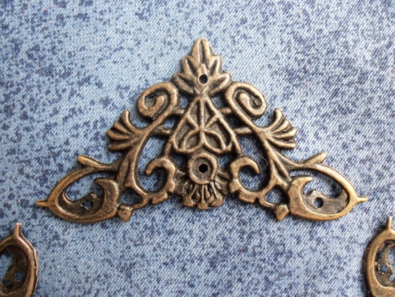 Mmx mm vintage antique brass metal decorative corner