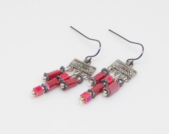 Earrings, Dark Coral Beaded Earrings, Drop Earrings SN-57