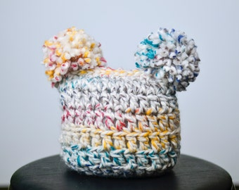 Child pom pom hat, crochet pom pom, crochet hat, multi-color hat, pom pom, beanie, toddler hat