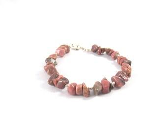 Silver bracelet 925 and Rhodonite stone