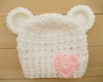 Crochet baby hat Newborn bear hat Baby girl bear hat White bear hat Newborn white hat Baby girl hat Baby bear hat Newborn girl hat