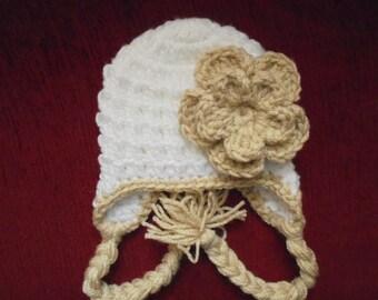 Baby earflap hat Baby girl hat White baby hat Winter baby girl hat Crochet earflap hat Crochet baby hat Newborn girl hat