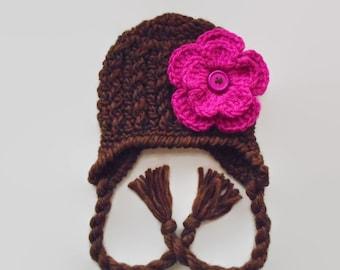 Winter baby hat, earflap baby hat, newborn hat, baby girl hat, brown winter hat, wool baby hat, newborn girl hat, flower crochet hat