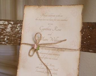 Vintage, Blush Pink Rose, Romantic, Shabby, Rustic, Victorian Wedding Invitation, Jute, Peach, Coral, Quinceanera, Sweet Sixteen