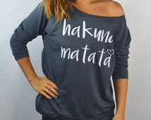 Hakuna Matata. Don't Worry Sweatshirts. Women's Light Weight Sweatshirt. Off Shoulder Shirts. Gym Sweatshirts. Yoga Shirts. Workout Clothing