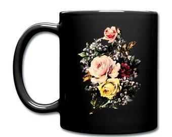 Vintage Rose Bouquet Flower Floral Goth Chintz Print Illustrated Ceramic Mug Cup. Black.
