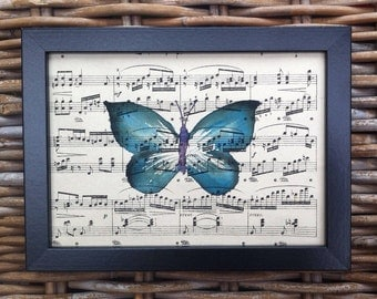 Butterfly, an original framed watercolour painting.
