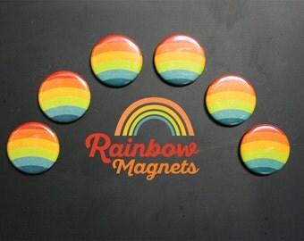 Rainbow Fridge Magnets. Vintage colors. Set of 6.