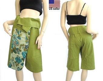 3/4 fisherman pants patchwork fold over fisherman pants   pants yoga spa pants maternity pants exercising pants....PDK#0157