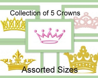 Machine  Embroidery Design - Assortment of 5 Crown Designs