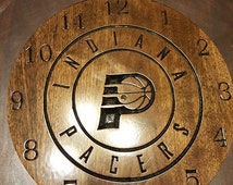 Indiana Pacers Wooden engraved clock 12'' Basketball Clock