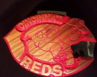 Cincinnati reds wooden sign
