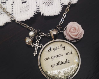 Grace and gratitude sparkle quote necklace, rose necklace, Christian jewelry, cross enclave, sparkle necklace, personalized jewelry