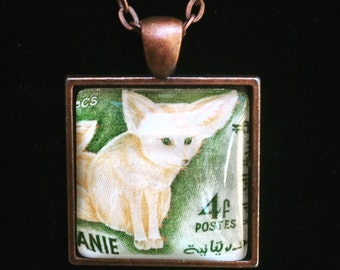 Fennec Fox Postage Stamp Necklace