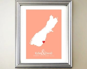 South Island Custom Vertical Heart Map Art - Personalized names, wedding gift, engagement, anniversary date