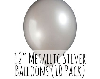 "12"" Metallic Silver Balloons, 12 Inch Metallic Silver Latex Balloons, 10 pack, 1 ft Balloon, Party Decorations, Wedding, Birthday Decoration"