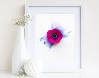 Floral Watercolour Print, Anemone, Flower Photography, Mixed Media Art, Flower Print Wall Art, Gift, Botanical Print, Giclee Art Print