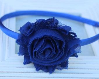 Royal blue headband, royal blue girls headband, toddler headbands, royal blue flower headband, girls photo prop royal blue accessory