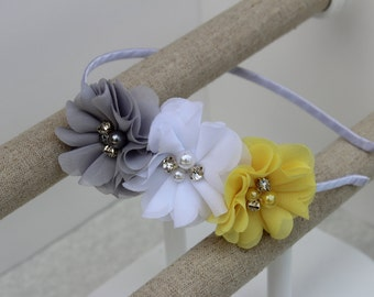 Grey and yellow headband grey flower girl headband satin yellow headband toddler headband hard headband girls headband grey yellow and white