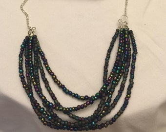 Necklace, 6 strane beaded with silver chain