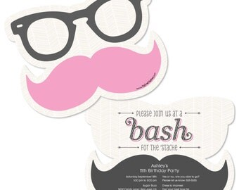 Pink Mustache Custom Invitations - Personalized Birthday Party Supplies - Set of 12