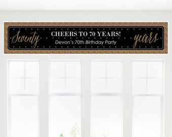 Chic 70th Birthday – Black and Gold Party Banner - Birthday Party Decorations