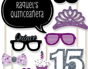 Quinceanera - Sweet 15 - Purple Birthday Party Photo Booth Props - Birthday Party Photobooth Kit with Custom Talk Bubble - 20 Pieces