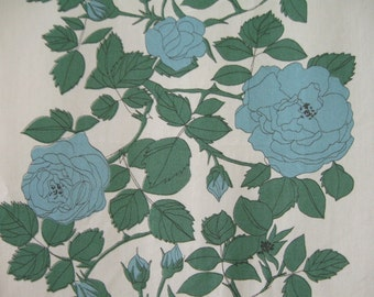 60s VINTAGE CURTAIN / Fabric / Drapery / Cotton / Mid Century / Retro / 50s / 60s / Home decor / Roses / Striped / Blue / Green / White