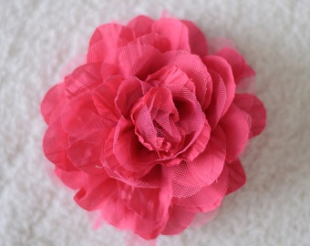 """5"""" Crinkle Hair Flowers, Wholesale Flower Heads for Baby Girl Headbands, Lot of 1, 2, 5 or 10, Hot Pink"""