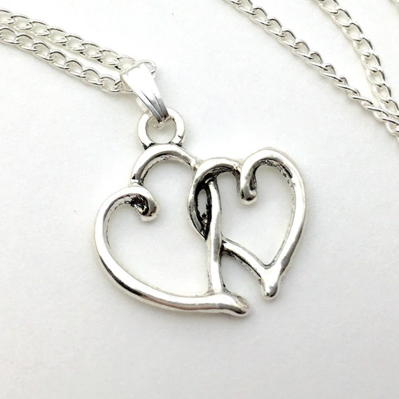 Two Hearts Intertwined Necklace Antique Silver Jewelry NEW