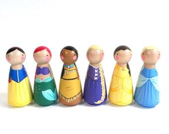 "6 (3 1/2"") princess peg dolls // Your Choice // SIX 3 1/2"" Princess Peg Dolls"