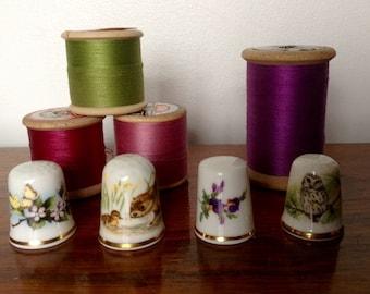 Bone China Thimbles. Set of Four Thimbles Depicting Animals/Flowers.