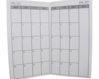 2017 Monthly Grid Planner {Personal Size} Printable Traveler's Notebook Insert Booklet