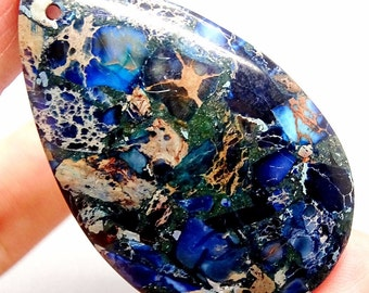 Blue Sea Sediment Jasper and Pyrite Pendant BEAD, Blue Teardrop Pendant, Teardrop Bead, Blue Bead, Blue and Silver, Mosaic Pendant