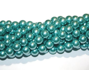 10mm Glass Pearls, 10mm Round Beads, 10mm Glass Beads, Metallic Blue beads, Light Blue, 10mm Round Pearl, Faux Pearl, Wholesale Pearls