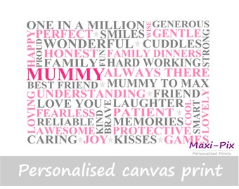 Mum/Mummy Personalised Canvas Print, Own Words, Gift, Mother's Day, Present, Kids