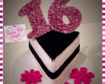Glitter & felt birthday cake   Handmade Felt cake   Happy 16th birthday   Felt cake slice   Keepsake cake   Made to order   16th birthday