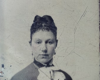 Poignant & Pensive // Beautiful antique photo of woman in bow tie and earrings, portrait tintype, pensive, thoughtful look