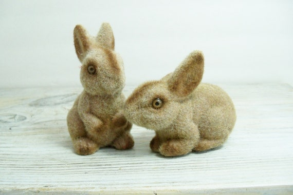 Vintage Flocked Rabbits Brown Gray Bunny Fuzzy Bunnies Easter Decor 1960s