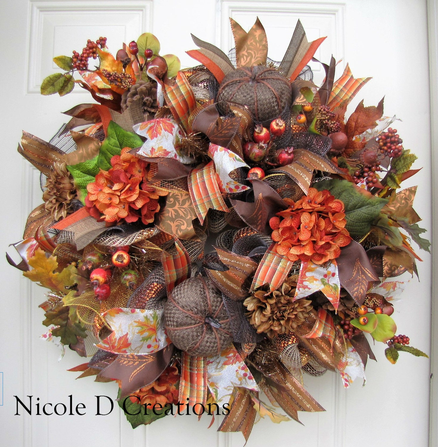 Sale Fall Wreath Thanksgiving Wreath Front Door Wreath Deco