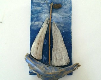Driftwood Sailboat, Driftwood Wallhanging, Driftwood Boat, Blue Boat, Nautical Decor, Driftwood Decor, Reclaimed Wood, Recycled Wood Decor.