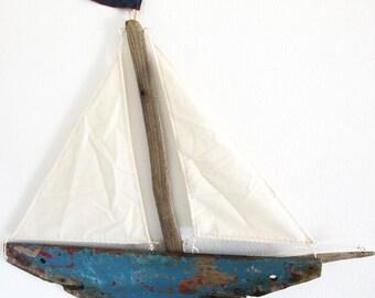 Blue Sailboat, Driftwood Boat, Big Boat, Nautical Wall Art, Blue Boat, Nautical Decor, Recycled Wood Art,  Wooden Boat, Reclaimed Wood Boat.