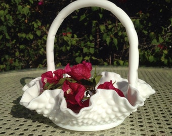 Hobnail Milk Glass Basket