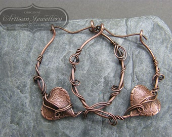 Hoop earrings ~ Leaf earrings ~ Statement earrings ~ Copper jewelry ~ Unique gift for her ~ Large hoop earrings ~ Copper hoops ~ Leaves