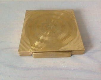 Vintage compact mirror gold metal