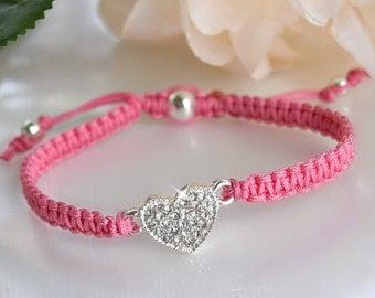 Girls Crystal Heart Friendship Bracelet