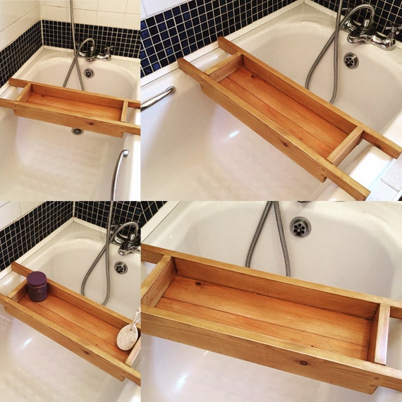 Items similar to gorgeous handmade wooden bath caddy bath for Bathroom accessories stand