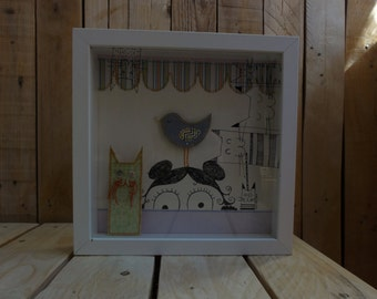 Diorama Shadow Box Cat Bird Girl White Pink Green Blue