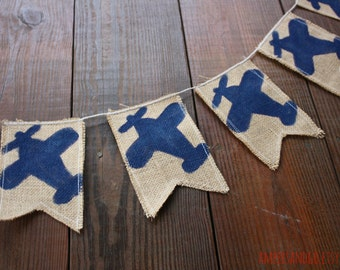 Airplane Banner Plane Bunting Vintage Plane Party Painted Burlap Banner Birthday Party Decor Baby Boy Nursery Decor Biplane Navy Planes