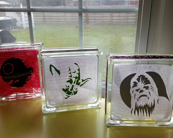 Star wars Home decor Custom 8 x 8 Lighted Glass Block.  Themed and personalized to suit.